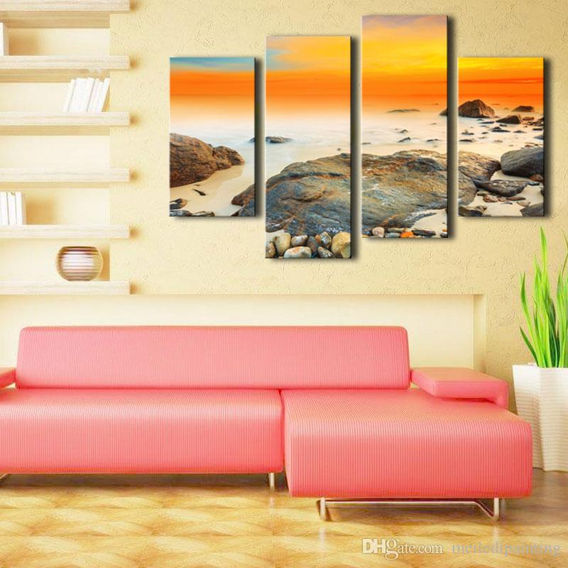 Amosi Art-Modern Canvas Prints Artwork Contemporary Seascape Paintings on Canvas Wall Art for Home Decoration with Wooden Framed