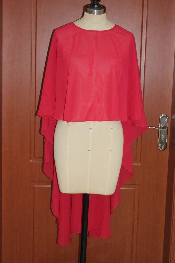 Veste en mousseline de soie rouge Boléro Vraie image ras du cou haute basse soirée de mariage Wraps bon marché accessoires de haute qualité