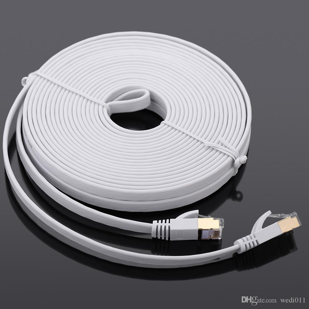 15m High Speed 10gbps Cat7 Sstp Rj45 Network Flat Lan Cable Internet ...