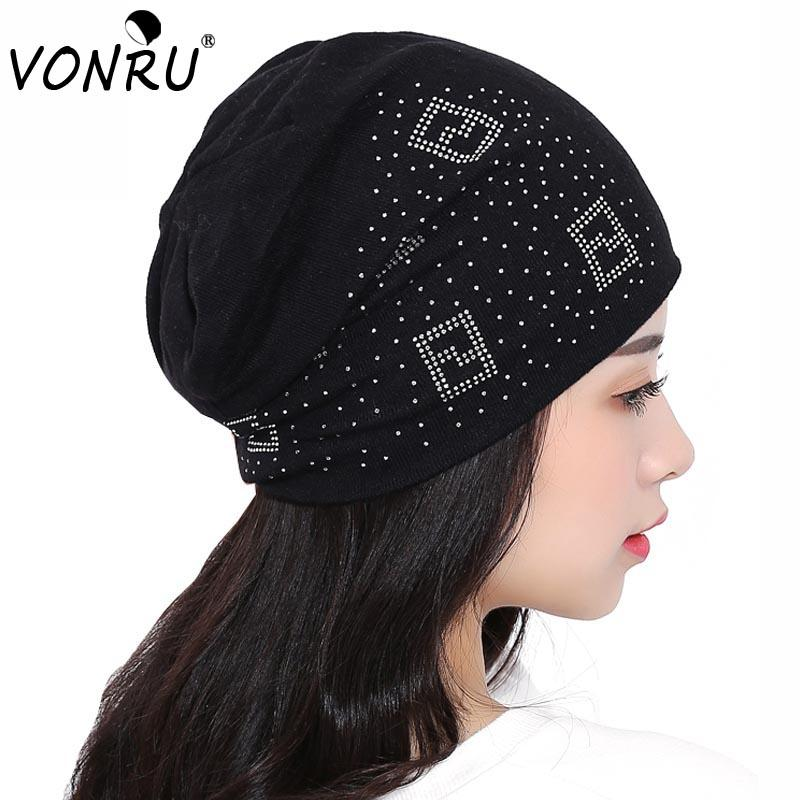 Wholesale- Rhinestone Letter Beanies for Women Autumn Winter Brand ... fd4603336a42