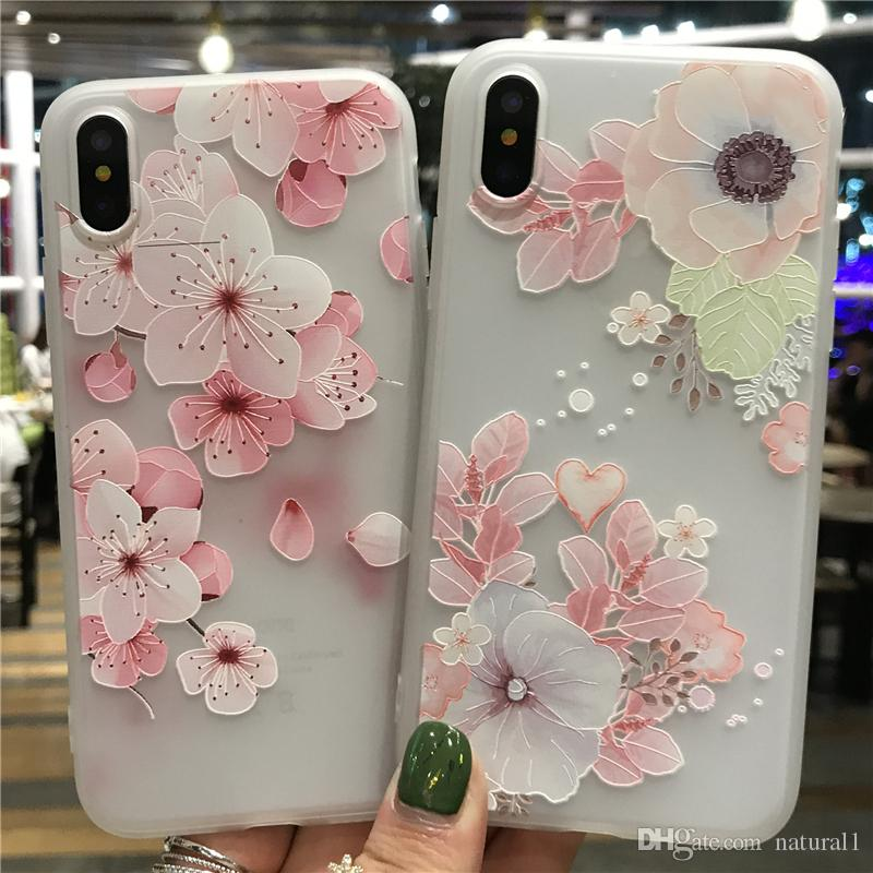 uk availability 10e1f 17c2d Natural Flower Patterned Case For iPhone X 8 8 Plus Cover Soft Silicone  Floral Protect Cover For iPhone 7 7 Plus Phone Cases