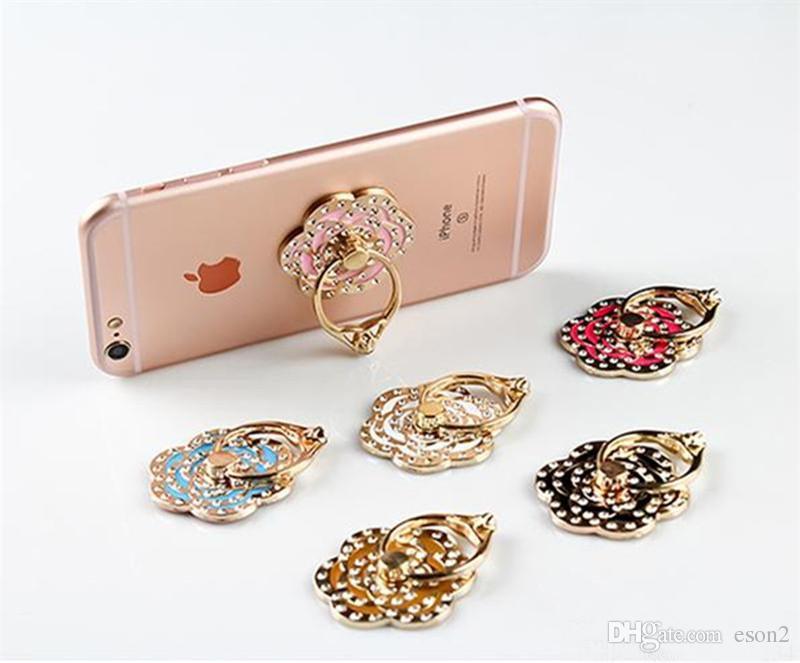 Diamante suporte aperto Cell Phone Anel Titular Universal gancho Rose Flor titular para Samsung Galaxy S5 S8 Com pacote de varejo