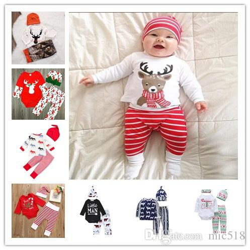 Baby first Christmas Clothing Set Newborn Baby Boys Girls Bodysuit shirt+Stripe Pants+Hat 3pcs Outfits Clothes