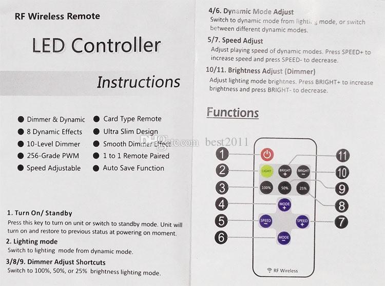 Einfarbige Fernbedienung Dimmer DC 12 V 11 Tasten Mini Wireless RF LED-Controller für LED-Lichtleiste SMD 5050/3528