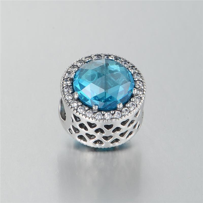 Charms blu radiante Charms S925 argento adatto bracciali charms stile pandora spedizione gratuita aleLW619CH9