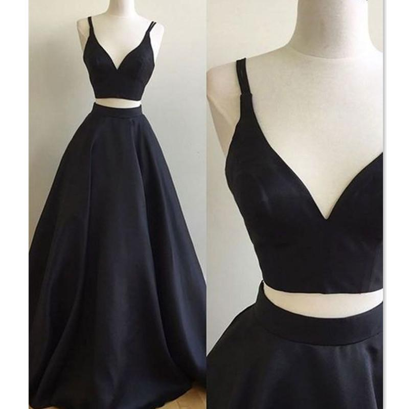 511f40d0084 2018 Black Two Pieces Prom Dresses Satin Spaghetti Straps A Line Real Photo  V Neck Evening Party Gowns Simple Cheap Price City Triangles Prom Dresses  Custom ...