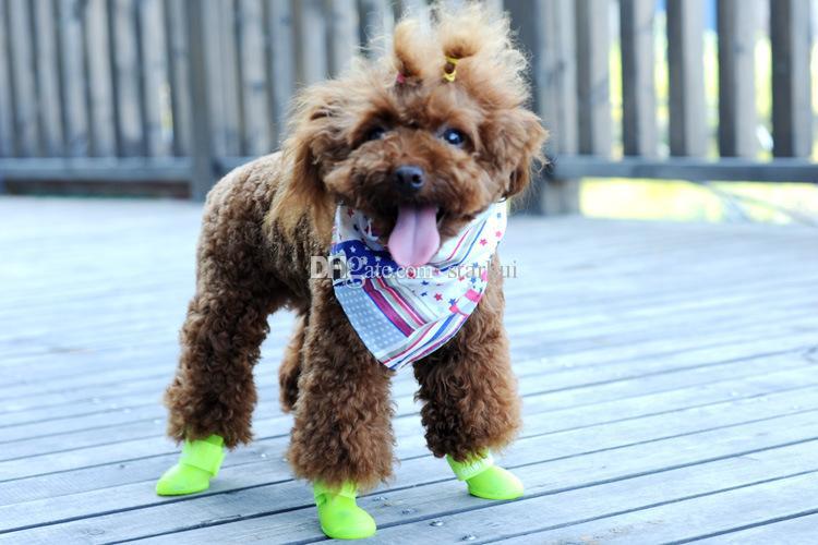 / 세트 개 신발 패션 애완견 고무 발 신발 다채로운 방수 부츠 러블리 캔디 색상 레인 신발 S / M / L WX-G16