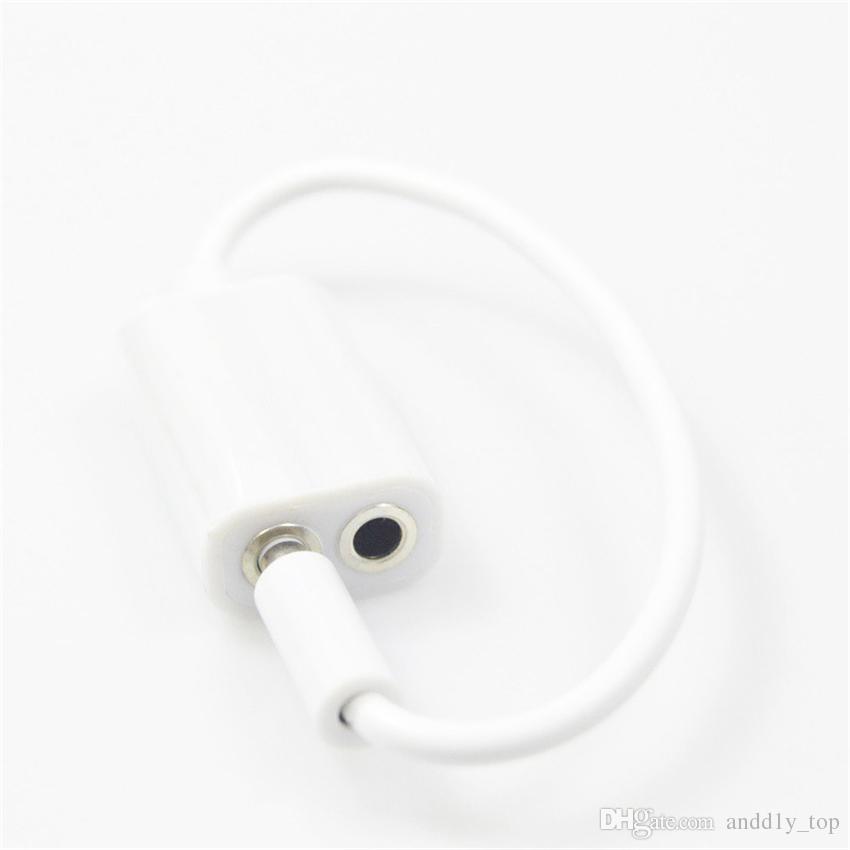 Bianco universale da 3,5 mm 1 maschio a 2 femmina Audio Cuffie Splitter Adpater Cable cuffie Computer portatile pc