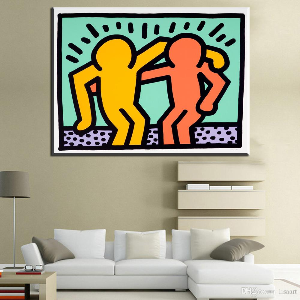 ZZ1444 modern abstract prints keith haring canvas oil art painting canvas prints art for livingroom bedroom decoration unframed art