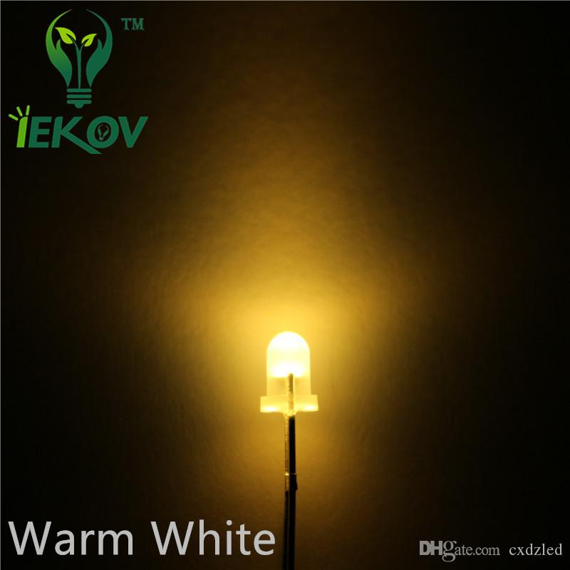 High Quality 3MM Round Top Diffused Warm White Leds Urtal Bright Bulb Light 3MM Emitting Diodes Electronic Components Wholesale