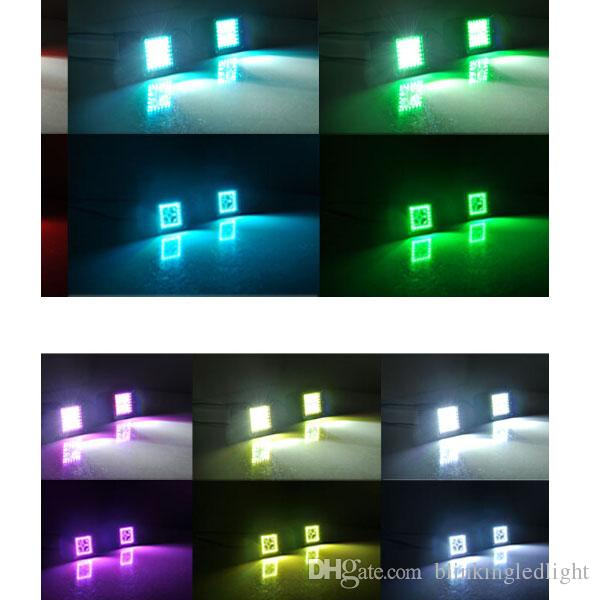 3x3 Inch 12W LED Work Light with RGB Halo Ring Angle Eyes Remote Controller Color Changing over for Car Tractor Boat Off Road