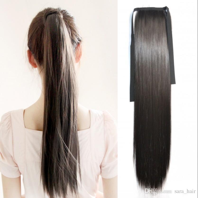 Sara Cordón de cola de caballo humano similar Cordón de cola de caballo recta Clip en extensiones de cabello de 55 cm, 22