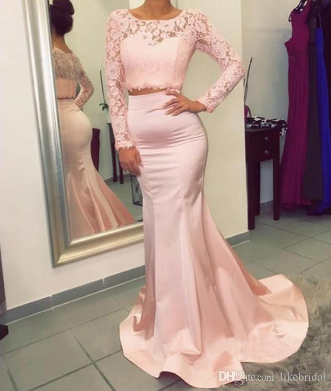Lace Long Sleeve Evening Dress Pink Mermaid Style Scoop Neck Vestidos de Festa 2019 Two Pieces Prom Gowns Discount