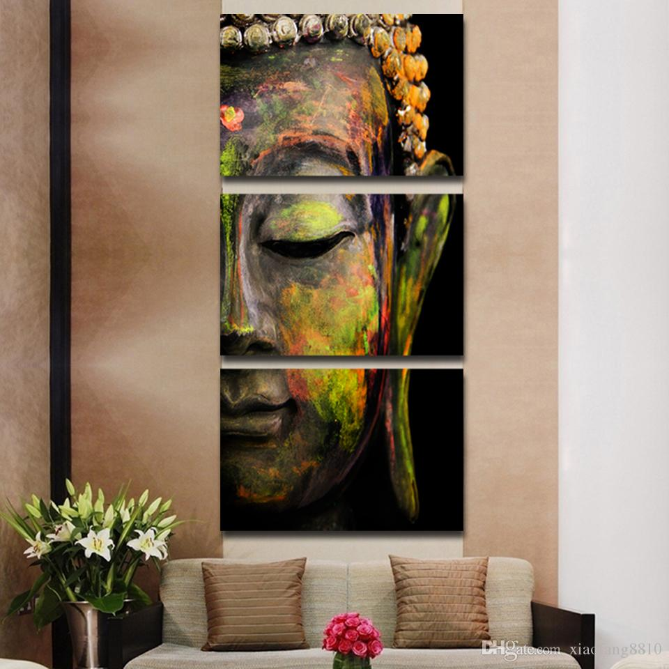 3 Teile / satz Buddha ölgemälde wandkunst gemälde bild paiting leinwand farben wohnkultur Giveaways wandaufkleber Kein Rahmen