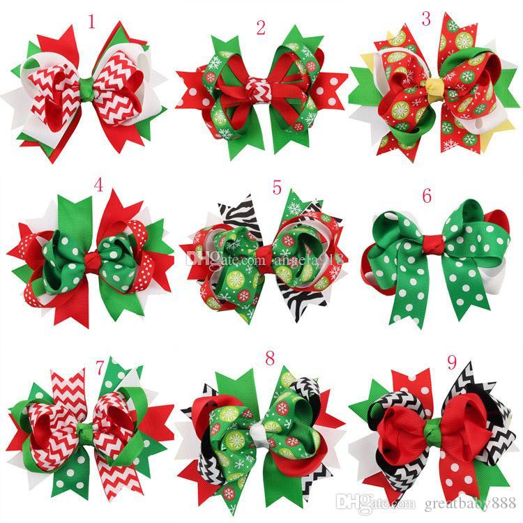 New Girls Christmas hairpins dovetail Barrettes bow with clip children snowflake Dot stripe hair accessories Bow Hair clips 13colors C1518