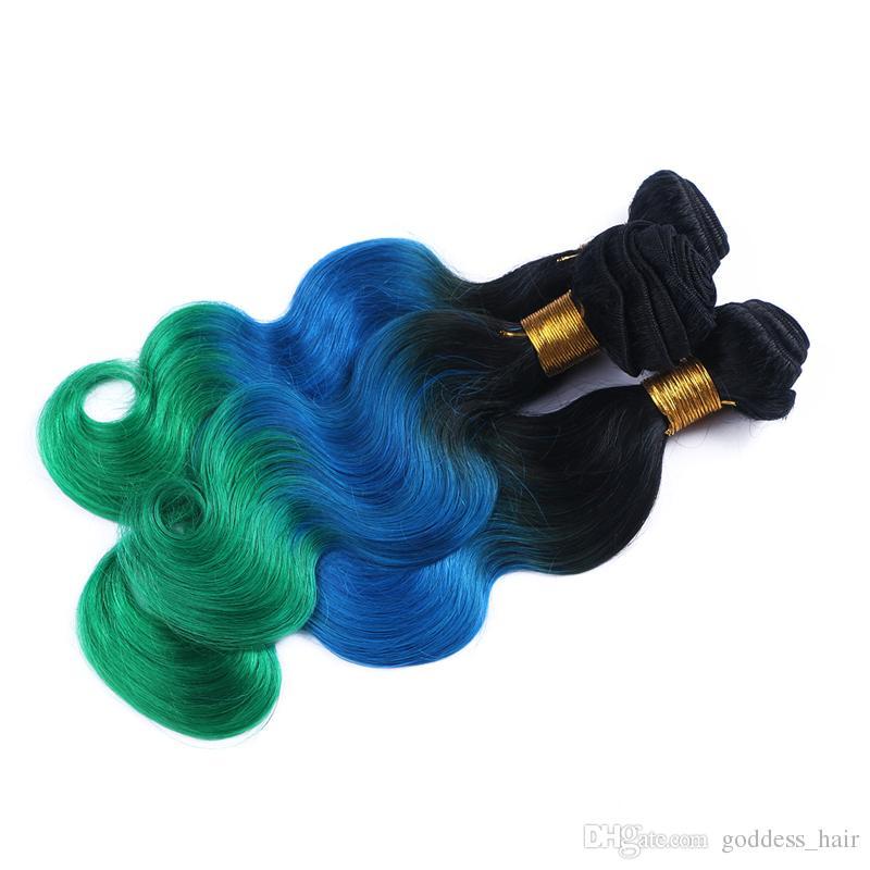 Extensiones de cabello 8A Ombre tres tonos 1B / azul / verde Ombre Onda brasileña del cuerpo ondulado armadura del cabello humano 3 lotes de longitud mixta 10-30 pulgadas