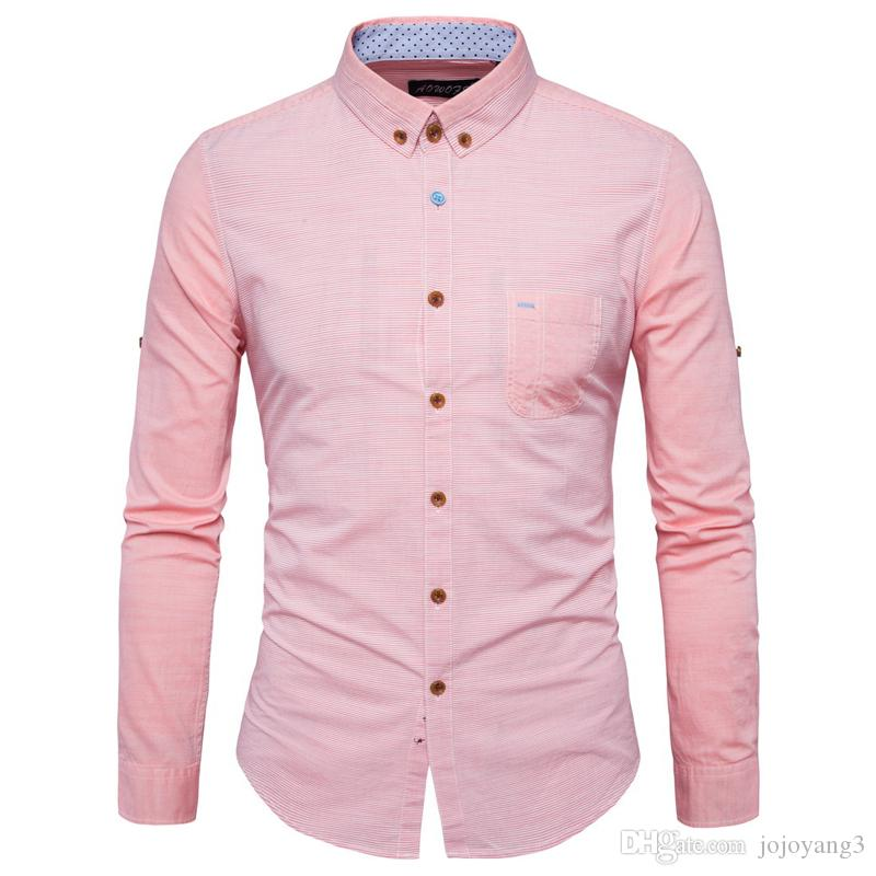 2017 Top Quality Casual Shirt For Men Strip Patchwork Pink Color ...