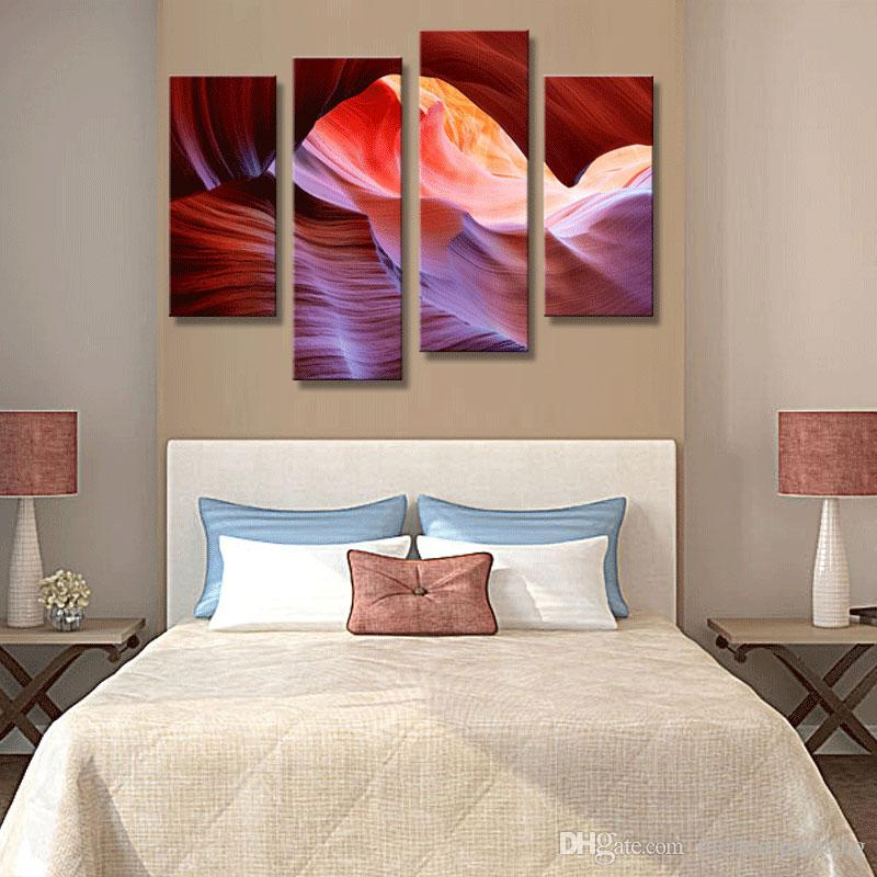 4 Picture Combination Wall Art Painting Antelope Canyon Valley Pink Pictures On Canvas Landscape The Picture For Home Decor