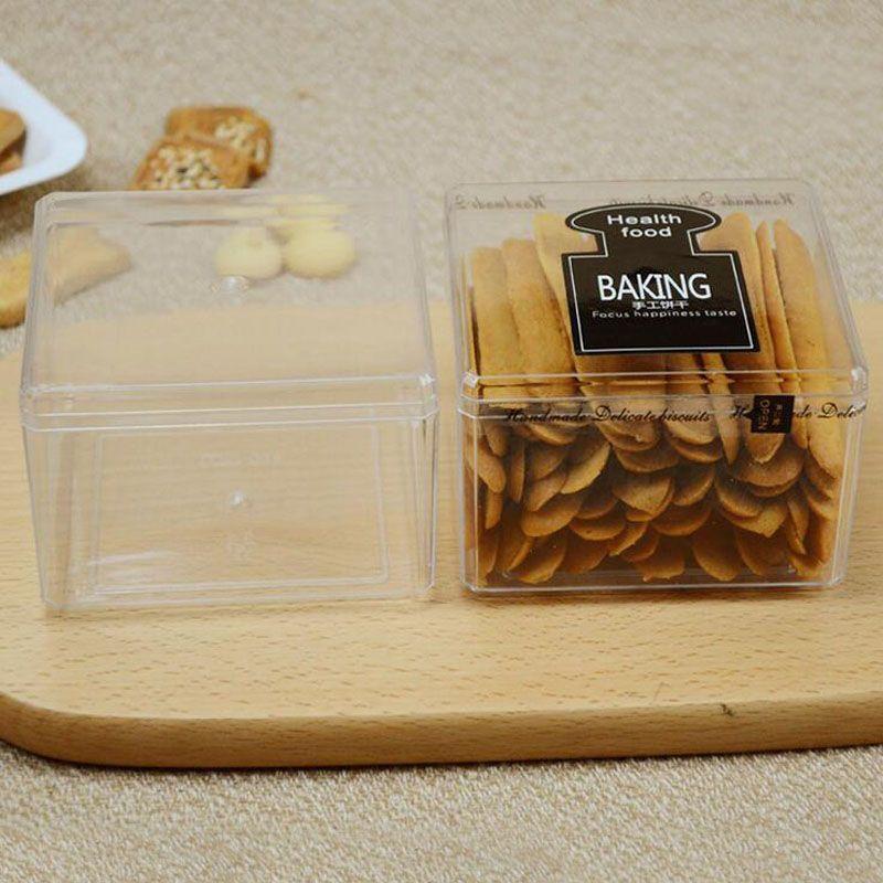 9.5 * 9.5 * 6.5 سنتيمتر البلاستيك الغذاء الصف ps واضح كعكة diy الكوكيز مربع البسكويت التعبئة الحلوى مربع الحاويات ZA4552
