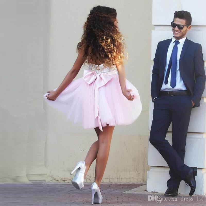 2020 Baby Pink Tulle Silver Sequined Short Homecoming Dresses Cheap Bow Zipper Back Mini Prom Party Dress Custom Made China EN81012