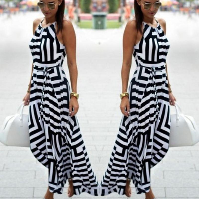 20fe8424c64c Summer Women Beach Maxi Dress 2018 New Black And White Geometric Stripe  Print Loose Halter Long Dress Female Vestidos Party Dresses Online Day  Dresses From ...