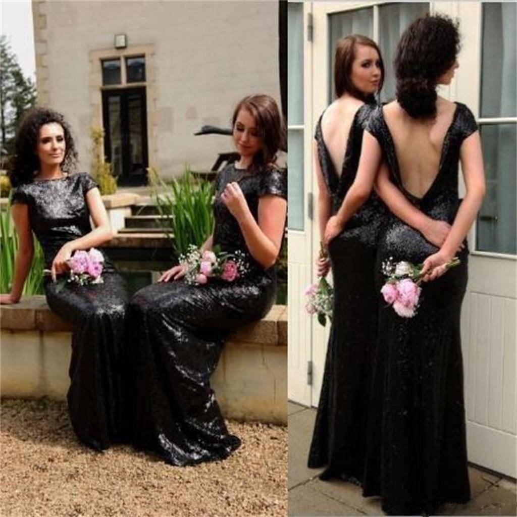 2019 Étincelant Noir Sequin Pas Cher Demoiselle D'honneur Dress Manches Courtes Sirène Dos Nu De Mariage Invité Robe Demoiselle D'honneur Dress Custom Made