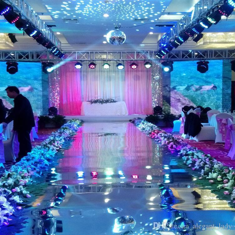 2018 زفاف فاخر خلفية اللوازم ديكور مرآة السجاد الذهب الفضة ضعف الجانب الممر عداء لحزب الديكور