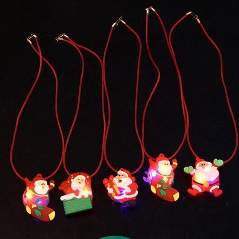 LED Lighted Toys Christmas Party Lighted Toys Santa Claus Snowman Necklace  Kids Necklace Toys LED Decorations Party Gifts Nautical Jewelry Jewellery  For ... - LED Lighted Toys Christmas Party Lighted Toys Santa Claus Snowman