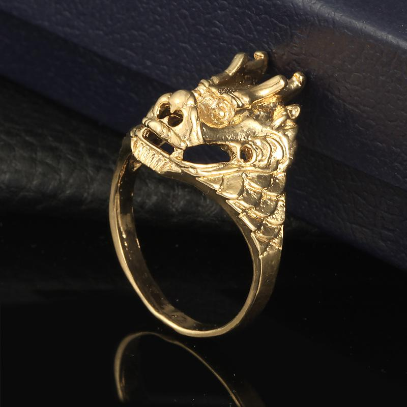 Brand New 18K Yellow Gold Vacuum Plated Dragon Couple Wedding Rings For Women Men Real Gold Plated Men's Rings