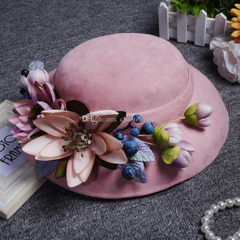 2017 New Arrival Pink Bridal Hats For Wedding Vintage Tea Party Kentucky Derby Church Hat for Women Occasion Headwear Wedding Accessories
