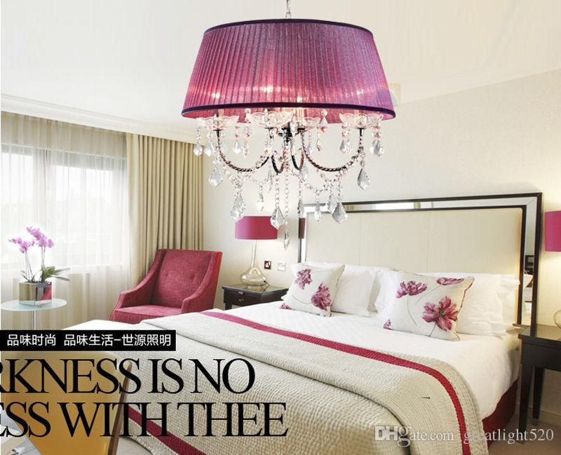 luz luz pingente lustre de teto Moda vintage moderno K9 de cristal com tecido shadeFor Foyer sala de estar quarto sala de jantar # 19