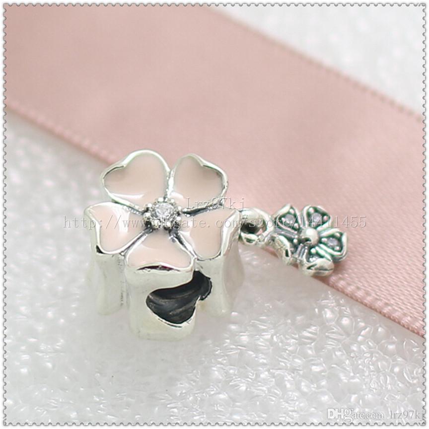 Novo 2016 Primavera 925 Sterling Silver Poetic Flores Dangle Charme Bead com Esmalte Rosa e Cz Serve Pulseiras Jóias Europeus Colar