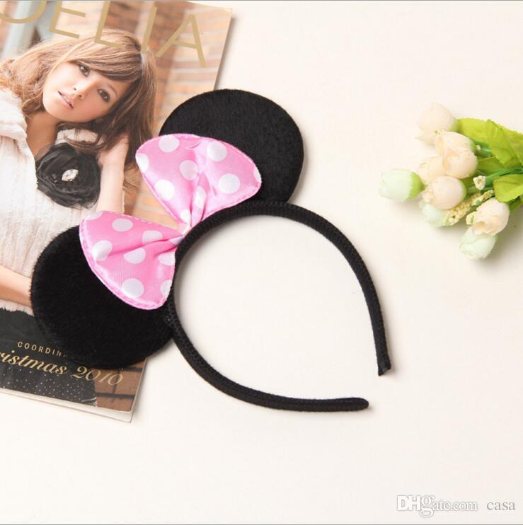 Lovely Girls Bows Mouse Ears kids Hair Accessories Party Headband kid birthday red rose black and pink kids Gift hair sticks