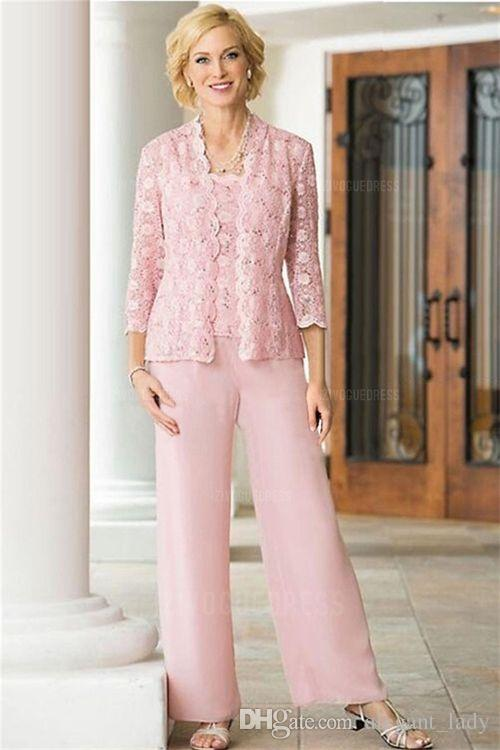 Pink Lace Chiffon Three Pieces Mother Of the Bride Suit with Long Sleeve Jacket 2018 Plus Size Women Prom Party Pant Suit
