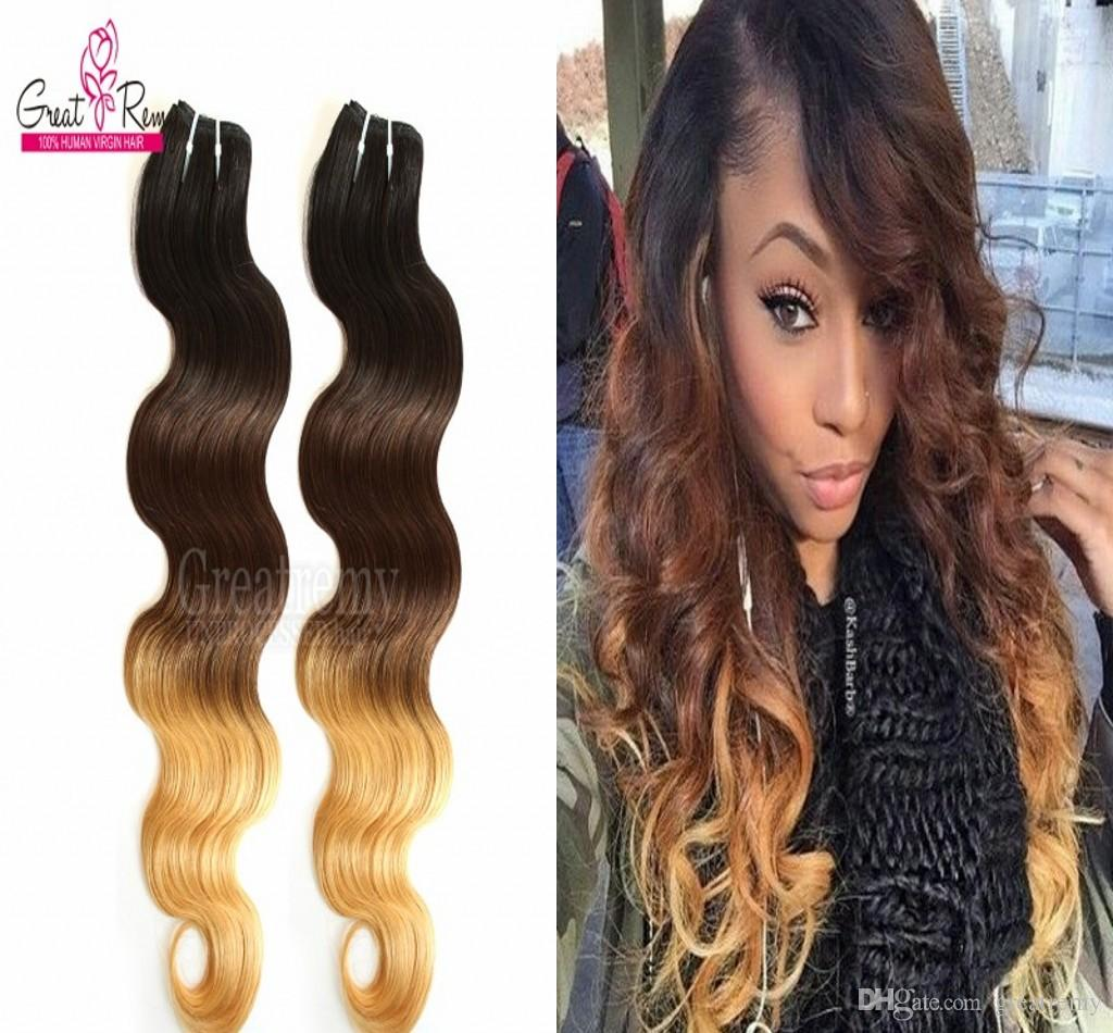 Greatremy Three Tone 1b427 Ombre Dip Dye Hair Brazilian Virgin