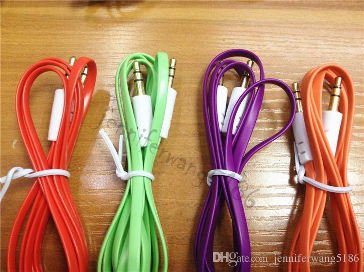 DHL Frei 1 mt / 3ft Bunte Flache Nudel 3,5mm Aux Audio Kabel Jack Stecker auf Stecker Stereo Kabel für handys