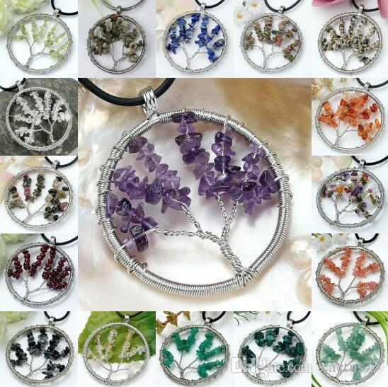 Crystal Quartz Gemstone 7 Chakra Healing Tree of Life Charms Handmade Natural Gemstone Chips Wire Wrap Bead Pendant for Necklace