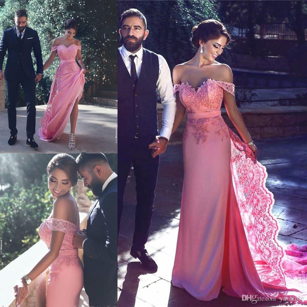 Discount Spring 2017 Pink Color Wedding Dresses Vinatage Off Shoulder Lace Illusion The Bridal Gowns Silk Chiffon Detachable Train Red
