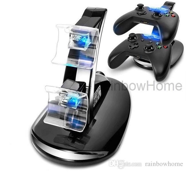 Caricatore doppio caricabatterie Stand Dock Playstation DualShock 4 PS4 XBOX ONE Controller Gamepad Cavo USB Indicatore luminoso LED blu