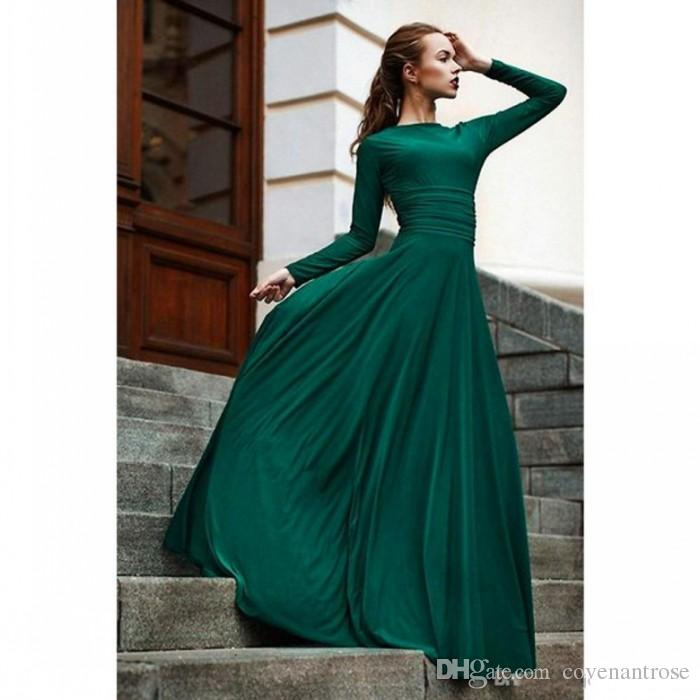 Elegant Dark Green Evening Dresses Long Sleeve Party Gowns Modest