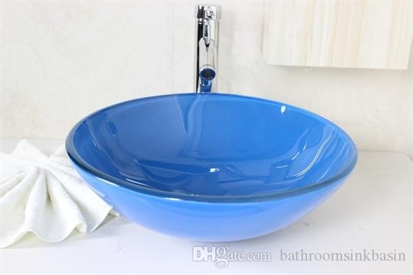 bathroom furniture glass wash basin with stainless steel bracket Water transfer printing glass basin N-560