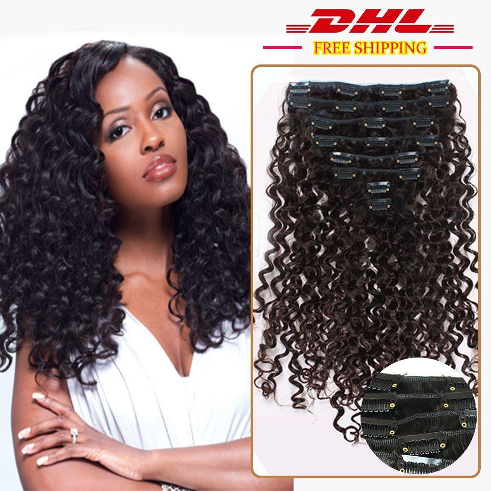 Tiefe lockige Afroamerikaner Remy Clip in Haarverlängerung Clip in Haarverlängerung 100 Echtes schwarzes Haar 100g / set