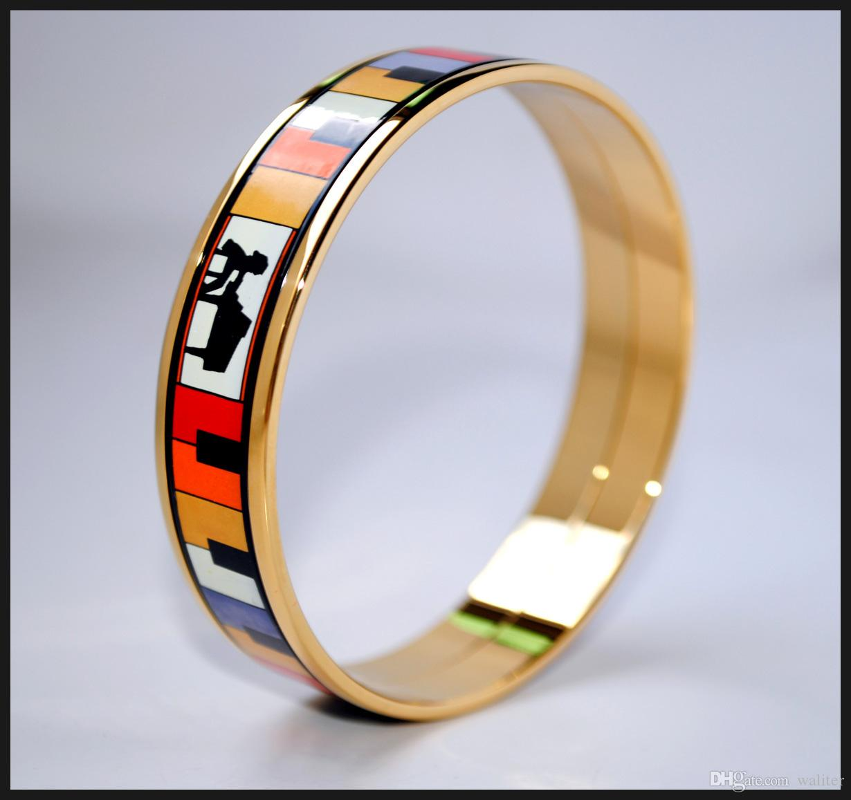 Playing Music Series 18K gold-plated enamel bangle bracelet for woman Top quality bracelets bangles width 15mm Fashion wedding jewelry
