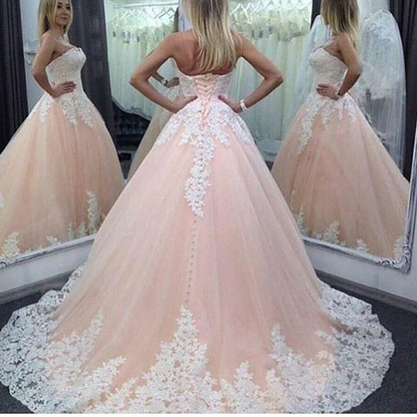 Discount Champagne Pink Colorful Lace Wedding Dresses 2016 Sheer ...