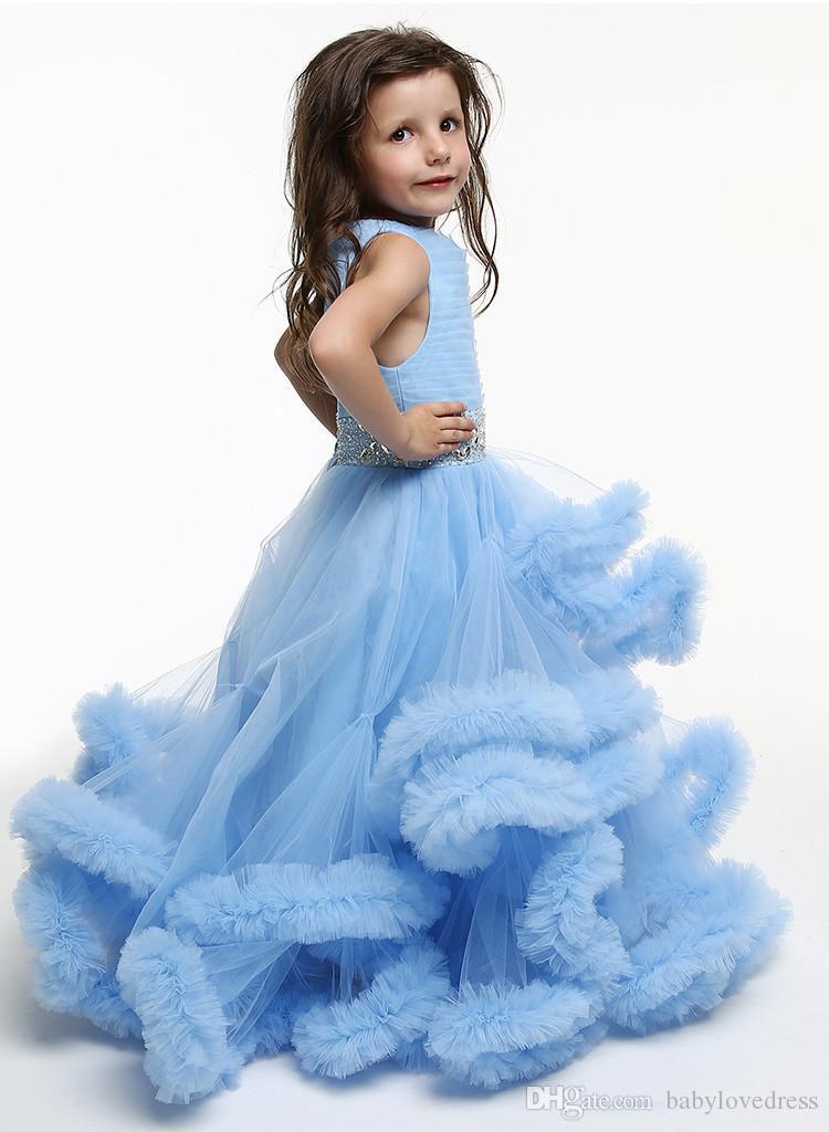 Neue 2018 Festzug Kleider für Mädchen Juwel ärmellose Perlen Schärpe schnüren sich oben zurück Party Kleider lange Rüschen Tüll Prinzessin Flowergirl Kleid