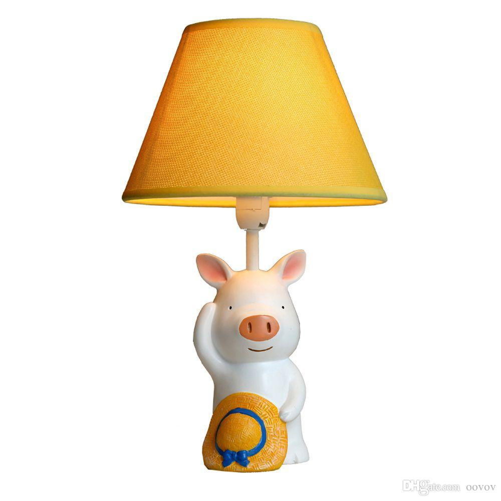 OOVOV Cartoon Pig Small Table Lamp Kids Room Bedroom Bedsides ...