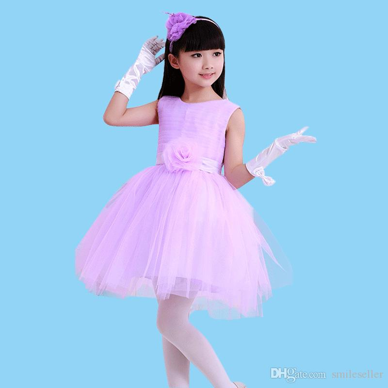New Kids Princess Dress Little Girls Wedding Party Costume Tutu Dresses Birthday Stage Performance Clothes SW0308