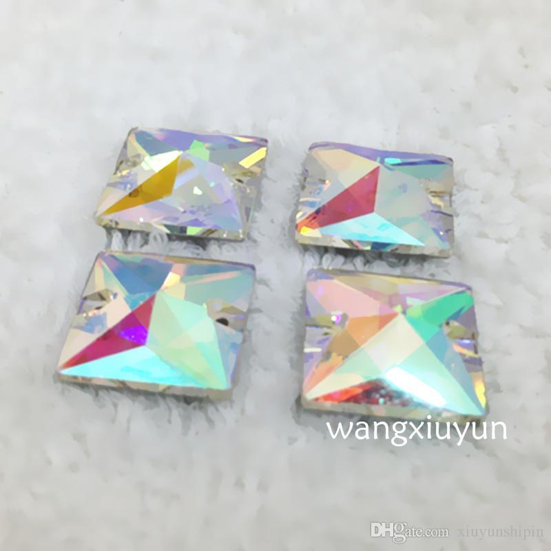 8мм/10мм/12мм/14мм/16мм/22мм Кристалл Ab цвет шить на кристалл необычные стразы с 2 отверстия