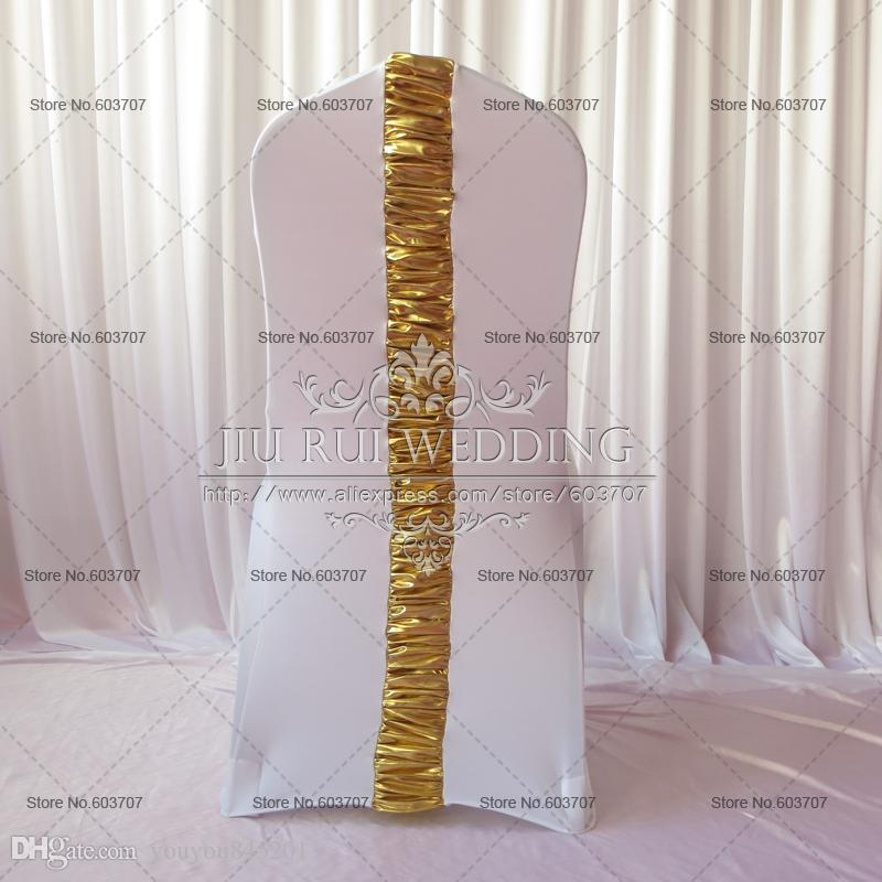 Spandex Chair Cover - White Lycra Chair Cover With Gold Metalic Pleat At Back For Wedding Event Use