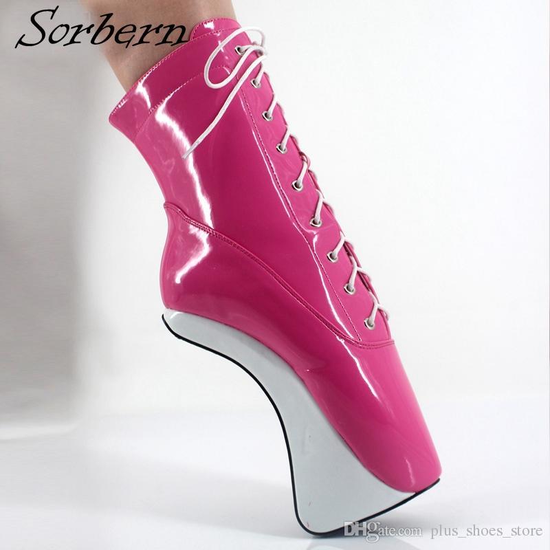 2018 Sorbern Mulheres Ballet Boots Lace Up Plus Size Chegam Novas Imagem Real Botas Altas Venda Quente Sapatos de Senhoras Sapatos Bota